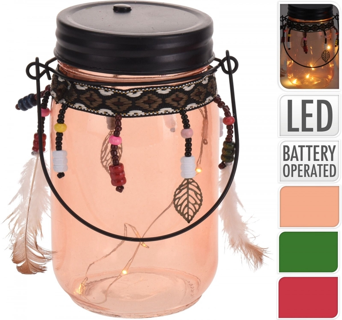 <h4>Voorjaar Glas pot LED d08*13cm ass</h4>