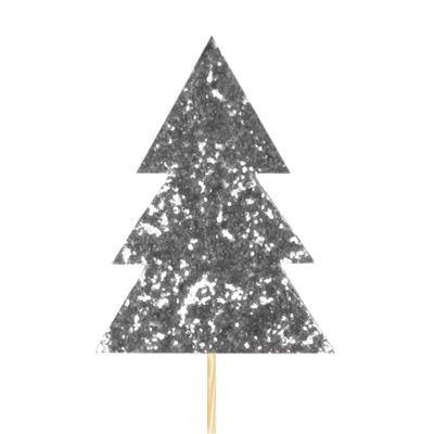 <h4>Pique Sapin de Noël feutre 7x9,5cm+12cm bât. arg.</h4>