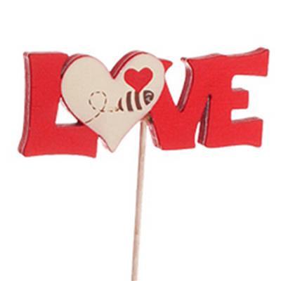 <h4>Déco Love + coeur 6,5x2,5+50cm rouge/blanc</h4>