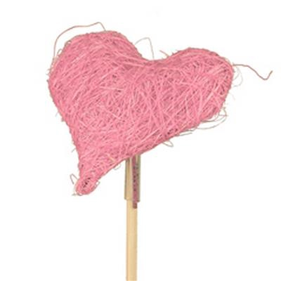 <h4>Cœur de Valentine sisal 8x8 sur tige 50cm rose</h4>