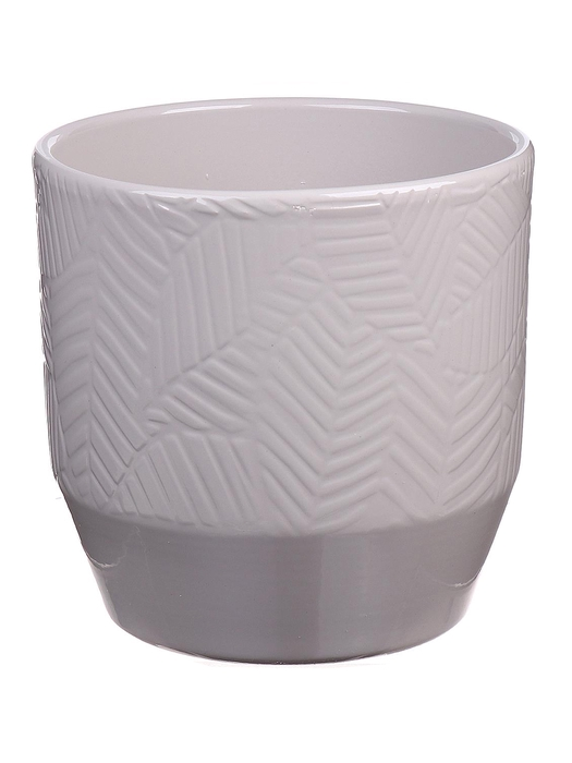 <h4>DF883749047 - Pot Pisa+leaf d13.5xh13.2 warm grey</h4>