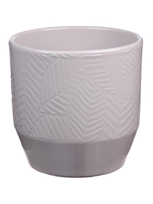 <h4>DF883749047 - Pot Pisa+leaf d13.5xh13.2 warm grey</h4>