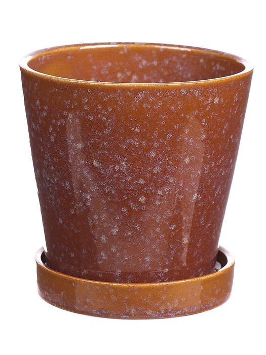 <h4>DF540263025 - Pot+saucer Avelon1 d10.5xh10.5 ochre</h4>