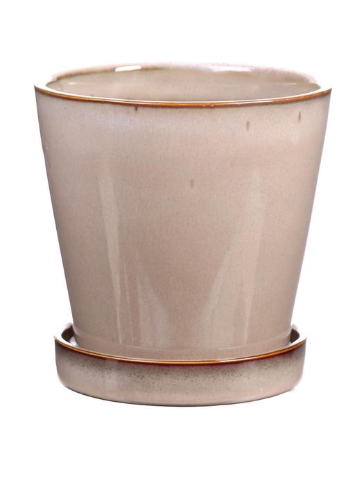 <h4>DF540261625 - Pot+saucer Avelon1 d10.5xh10.5 beige</h4>