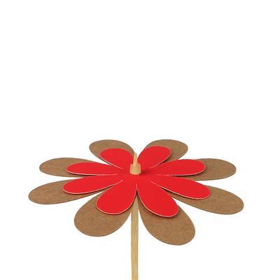 <h4>Bijsteker bloem kraft 8cm+50cm stok rood</h4>