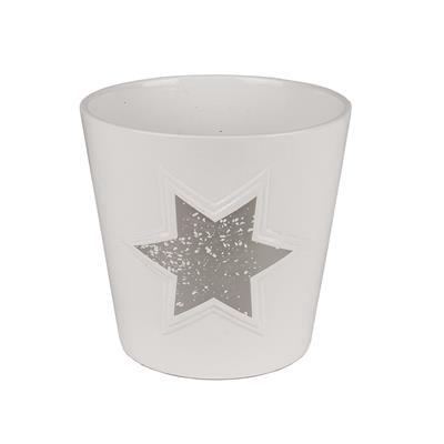 <h4>Pot Magic stars céramique Ø14xH13cm argent</h4>