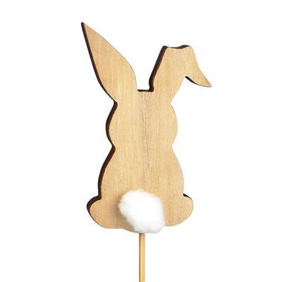 <h4>Bijsteker Bunny pompon hout 8x5cm+12cm stok wit</h4>