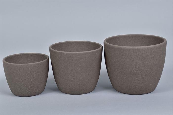 <h4>Keramiek 3dlg Pot Bruin 15cm</h4>