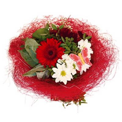 <h4>Bouquet holder sisal round loose Ø20cm red</h4>