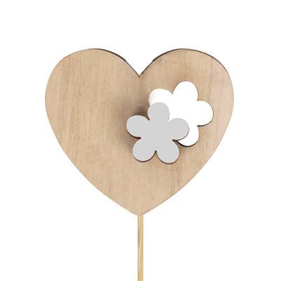 <h4>Pique coeur fleur bois 6x7cm+12cm bâton blanc</h4>