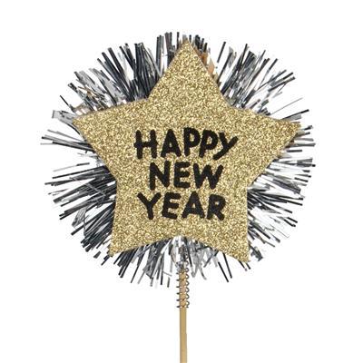 <h4>Pique star happy new year Ø9cm +50cm bâton</h4>