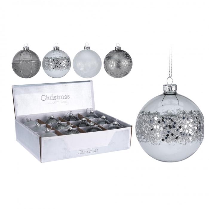 <h4>Christmas bauble Ball deco glass 80mm ass</h4>