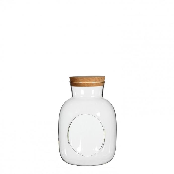 <h4>Glass Cork bottle+hole d12*18cm</h4>