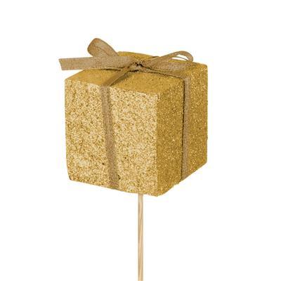 <h4>Bijsteker kado foam 5x5cm+50cm stok glitter goud</h4>