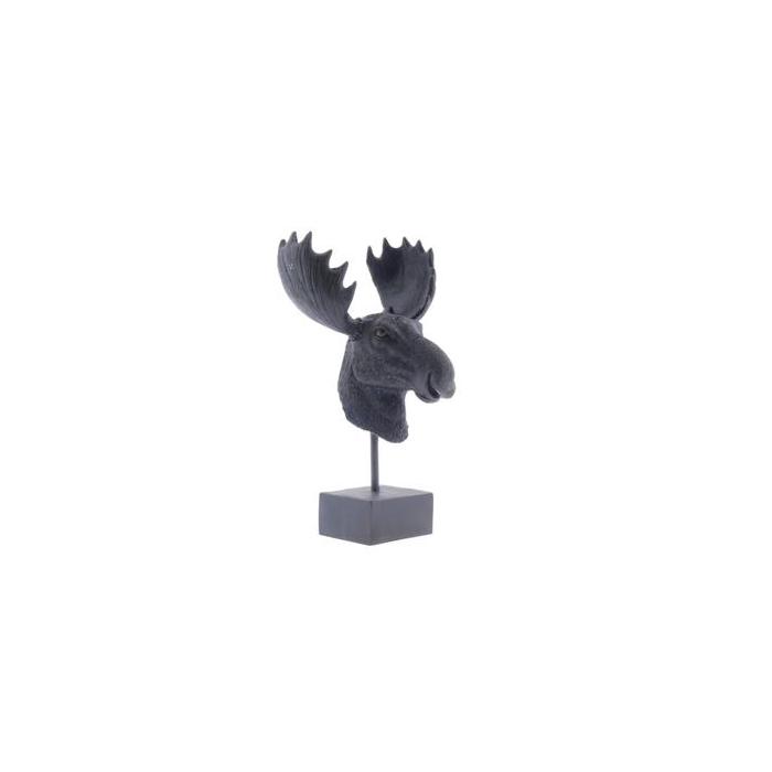 <h4>Deerhead+stand 16x16x29cm Blk</h4>