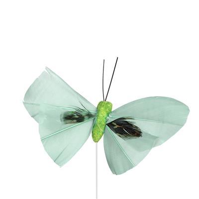 <h4>Bijsteker Butterfly 6x10cm+12cm draad 48 st. groen</h4>