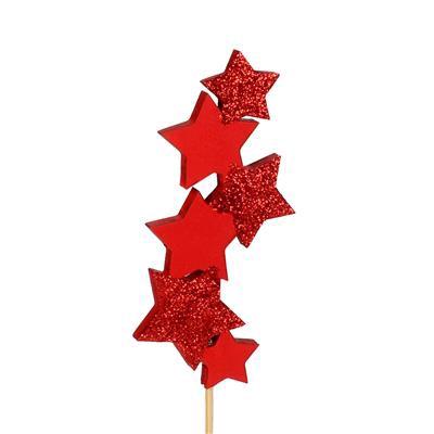 <h4>bijsteker Six Stars hout 10x4,5cm+50cm stok rood</h4>