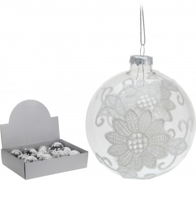 <h4>Christmas bauble Ball deco lace 80mm</h4>