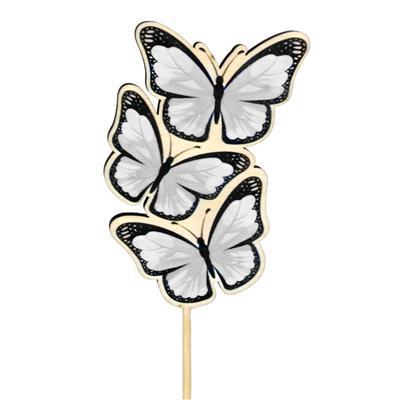 <h4>Pique papillon Trio bois 8x5cm+12cm bâton blanc</h4>