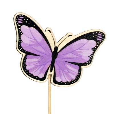 <h4>Pique papillon Single bois 6x7cm+12cm bâton lilas</h4>