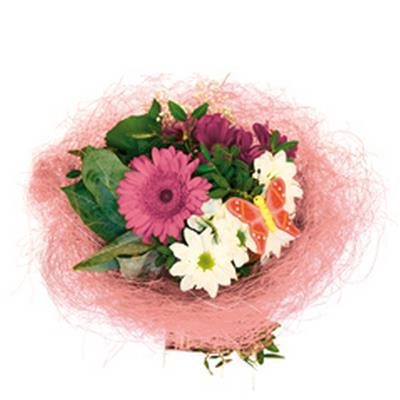 <h4>Bouquet holder sisal round Ø25cm pink</h4>