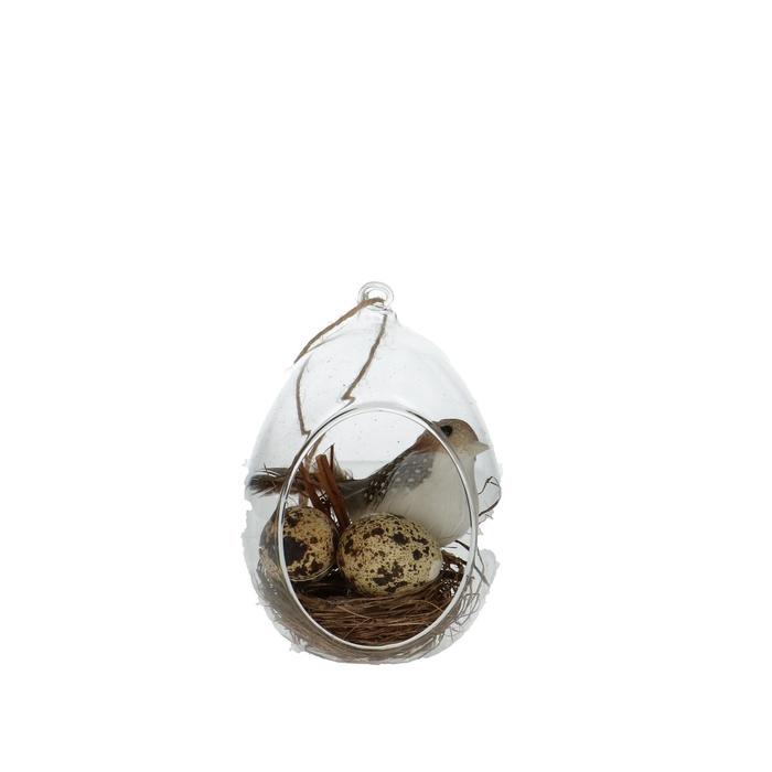 <h4>Sale Easter Glass globe bird+2 eggs d8*12cm</h4>