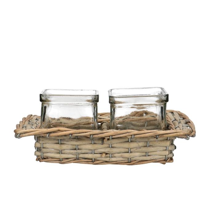 <h4>Glass Basket+2cube square d7.5*7.5cm</h4>