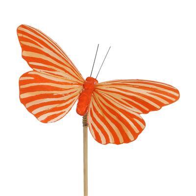 <h4>Pique papillon Spring 7x11cm +50cm stick orange</h4>