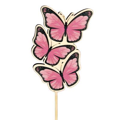 <h4>Pique papillon Trio bois 8x5cm+50cm bâton rose</h4>