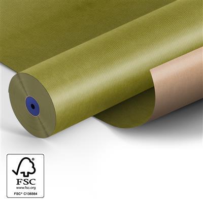 <h4>Papier: 50cm br. kraft 50gr Fond olijf groen 400m.</h4>