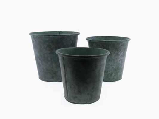 <h4>Planter Mtl S/3  Ø24x22cm Gree</h4>