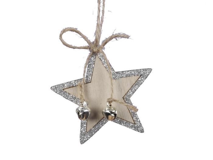 <h4>Kerst Hanger hout ster 06cm x8</h4>