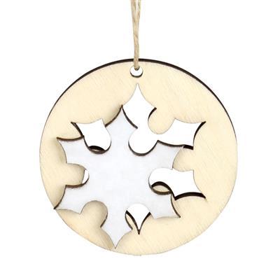 <h4>Hanger sneeuwvlok hout+vilt Ø6cm + 16cm touw wit</h4>