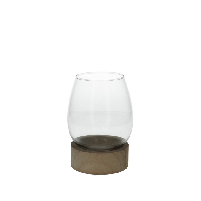 <h4>Glas Vaas+voet hout d11*16cm</h4>