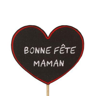 <h4>Bijsteker Bonne Fête Maman hout 5,5x7+50cm st rood</h4>