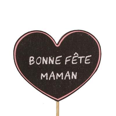 <h4>Bijsteker Bonne Fête Maman hout 5,5x7+12cm st roze</h4>