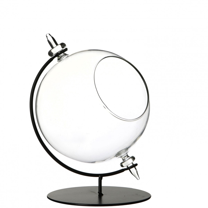 <h4>Glass Ball vase on stand open d14*20cm</h4>