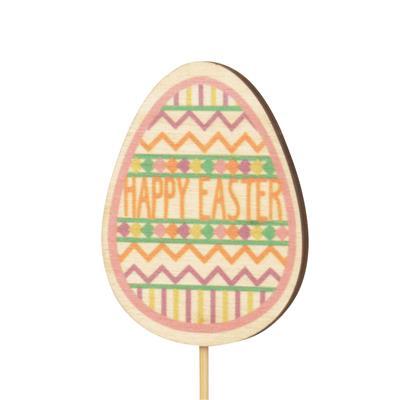 <h4>Bijsteker ei Easter hout 7x5cm+12cm stok</h4>
