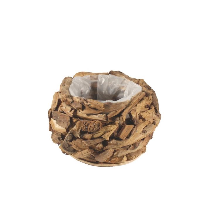 <h4>Hout Pot drijfhout d16*14cm</h4>