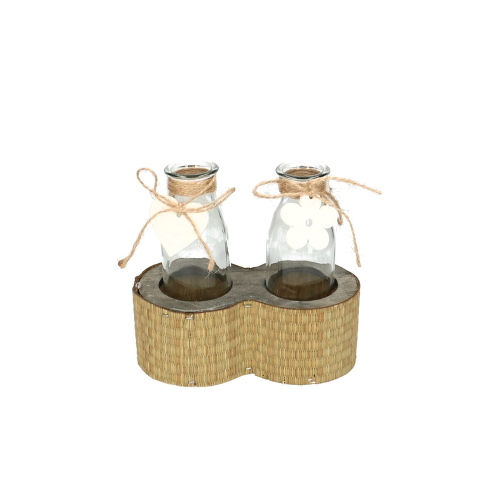 <h4>Glass Container+2bottels 16*8*15cm</h4>