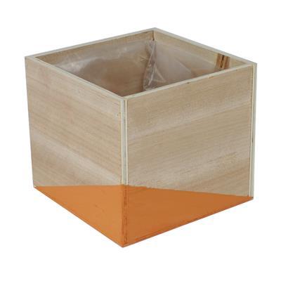 <h4>Pot Alvie en bois 13.5x13.5xH12cm orange</h4>