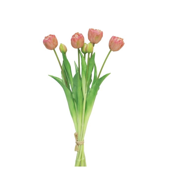 <h4>SILK FLOWERS - TULIP DOUBLE BUNDLE SALLY PEACH  44CM</h4>