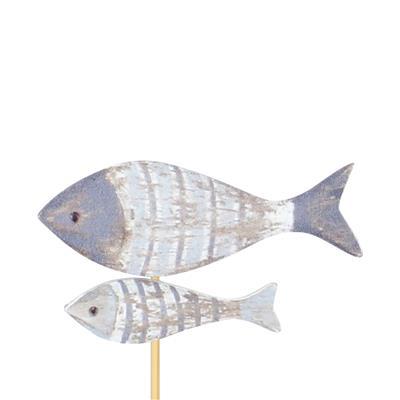 <h4>Bijsteker vissen hout 4,3x7,1cm+12cm stok blauw</h4>