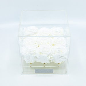 Plexi 15cm witte rozen