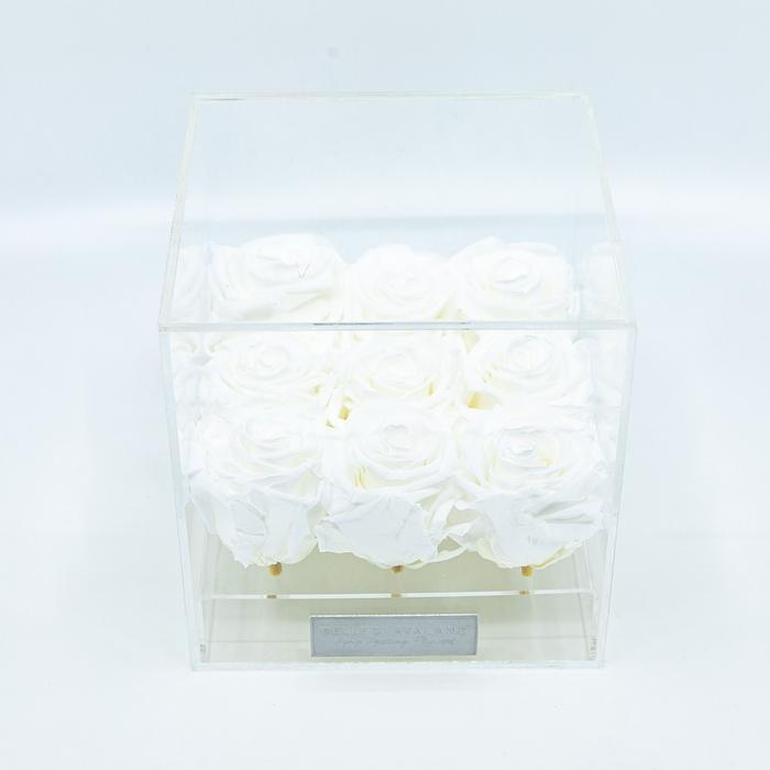 <h4>Plexi 15cm witte rozen</h4>