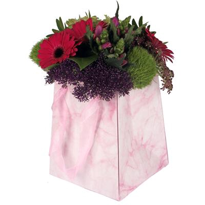 <h4>Bag Marble carton 12/12x15/15xH18cm pink</h4>
