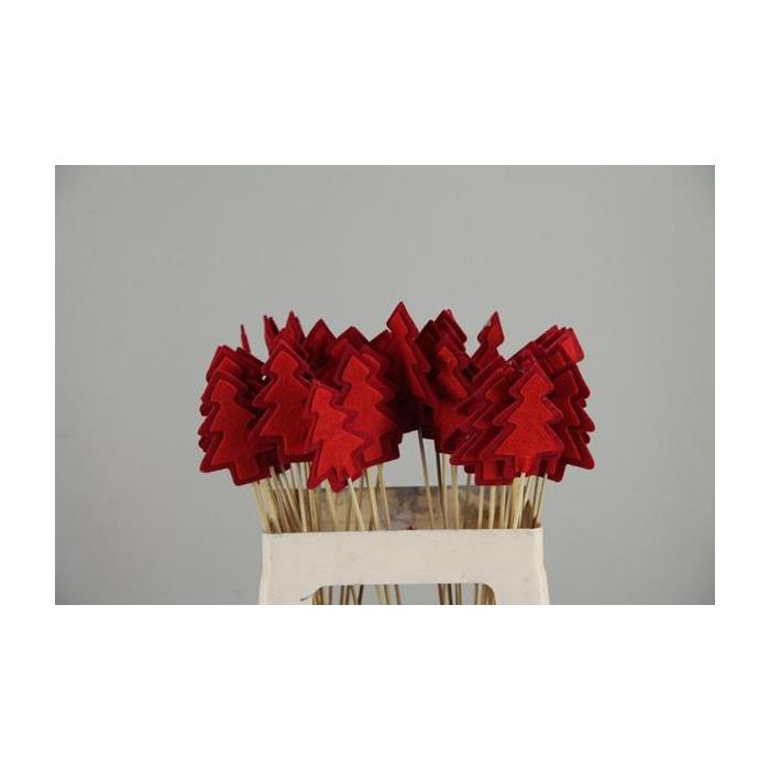 <h4>Stick Tree Felt 9cm Red/d.red</h4>