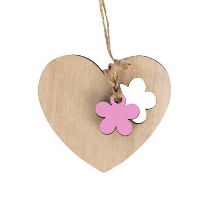 <h4>Hanger hart bloem hout 6x7cm+16cm jute touw roze</h4>