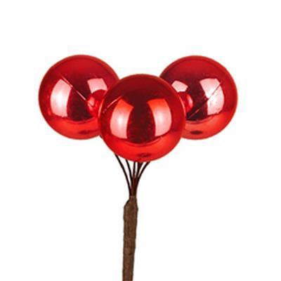 <h4>Bijsteker kerstbal plastic 3x3cm+10cm stok rood</h4>