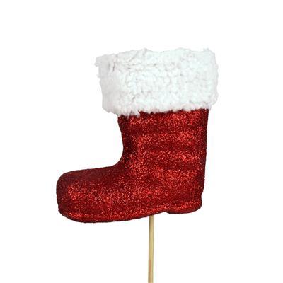 <h4>Pique Botte de Noël mousse 8,5x8,5+12cm bât. rouge</h4>